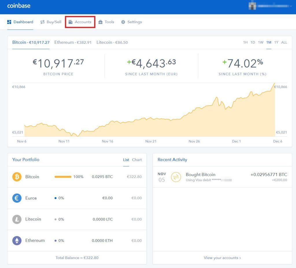 Tuto Bitcoins Coinbase vers Bitfinex - 04 - Coinbase Dashboard