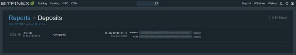 Tuto Bitcoins Coinbase vers Bitfinex - 11 - confirmation Bitfinex